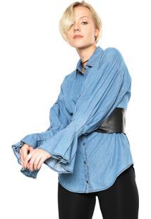 Camisa Jeans Lebôh Flare Azul