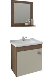 Conjunto Para Banheiro Com 1 Porta E Cuba Iris-Mgm - Amendoa / Off White