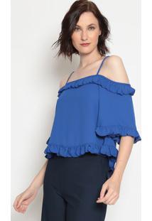 Blusa Lisa Com Babados - Azul Escuro - Moiselemoisele