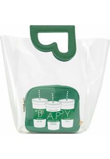 Bapy By *A Bathing Ape® Bolsa Tote Transparente Com Recortes - Verde