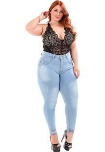 Calça Jeans Latitude Plus Size Skinny Luciclaudia Azul - Kanui