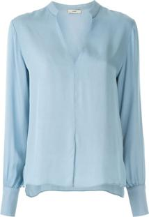 Egrey Blusa Lisa Com Fenda - Azul