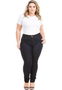 65725e4786 ... Calça Confidencial Extra Plus Size Jeans Cigarrete Com Elastano Feminina  - Feminino-Marinho