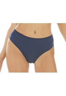 Calcinha Zee Rucci Comfort Jacquard Sem Costura Azul Marinho