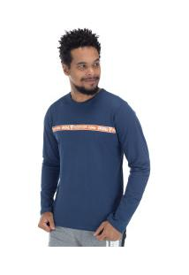 Camiseta Manga Longa Estampada 22243 - Masculina - Azul Escuro