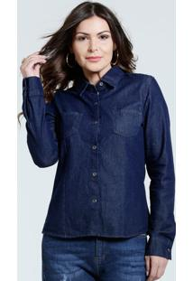 784c71b9b06fe ... Camisa Feminina Jeans Bolso Marisa