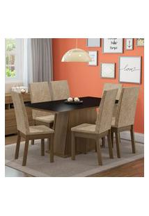Conjunto Sala De Jantar Thaís Madesa Mesa Tampo De Madeira Com 6 Cadeiras Marrom