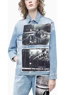 Jaqueta Jeans Ckj Fem Andy Warhol Rodeo - Azul Claro - P