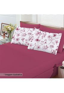 Jogo De Cama Floral King Size- Pink & Branco- 3Pçsbuettner