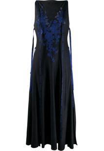 Loewe Vestido De Tricô E Seda Com Renda - Preto