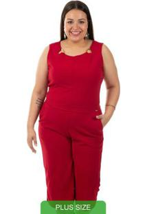 Macacao Pantacourt Bordo Gris Plus Size