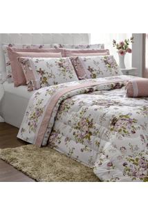 Edredom Queen Casaborda Passione Floral Percal 200 Fios 6 Pçs Rosê