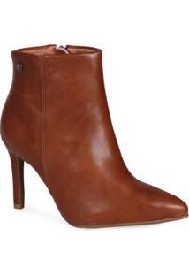 Ankle Boots Feminina Bico Fino Caramelo Caramelo