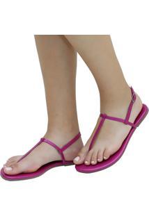 Sandália Rasteira Mercedita Shoes Napa Metalizada Pink Ultra Conforto Anatômica