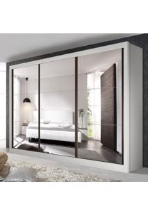 Guarda Roupa Casal Com 9 Espelho 3 Portas Ravena Siena Móveis Branco