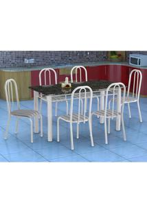 Conjunto De Mesa Granada Com 6 Cadeiras Madri Branco E Preto Listrado Gr