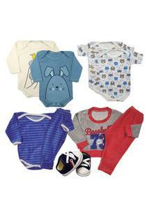 Presente Enxoval Roupa Bebê Kit 9 Peças Body Menino Menina Azul