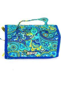 Necessaire Tecido Matelassê Mão Feminina Divisórias Viagem Feminina - Feminino-Azul Claro