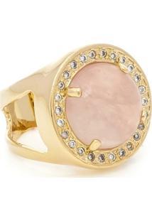 Anel Banhado A Ouro Quartzo Rosa E Zirconias - Feminino-Rosa
