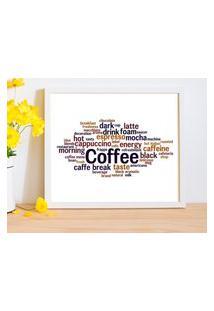 Quadro Decorativo Com Moldura Coffee Branco - 20X25Cm