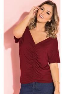 Blusa Bordô Com Drapeado Frontal E Decote V