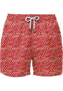 Short Barche Escama Vermelho