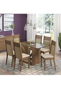 Conjunto De Mesa Com 6 Cadeiras Denver Rustic E Pérola Crema