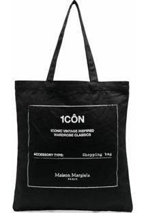Maison Margiela Bolsa Tote Shopper Com Estampa Gráfica - Preto