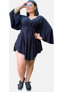 Vestido Kimono Curto Social Verão Tnm Collection Plus Size Casual Festa Preto