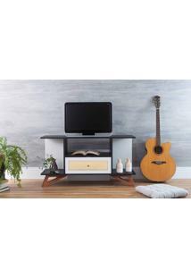 Rack Sala Tv Stills Preto E Branco Com Jatobá 108X33,6X56,5Cm