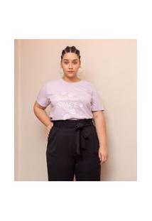 Blusa Com Estampa De Espaço Curve & Plus Size | Ashua Curve E Plus Size | Roxo | Gg