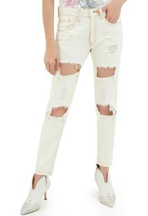 Calça John John Boyfriend Nova Zelandia 3D Jeans Off White Feminina (Jeans Claro, 34)