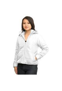 Jaqueta Feminina Com Capuz Removível Com Manta Térmica Inverno (Enchimento Em Fibra) Branco