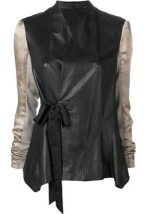 Rick Owens Contrast Sleeve Leather Jacket - Preto