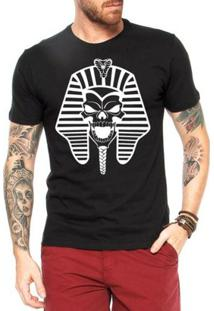 Camiseta Criativa Urbana Caveira Faraó - Masculino-Preto