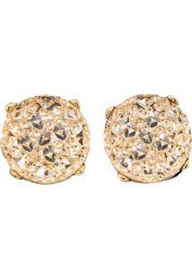 Brinco Liage Redondo Pedraria Pedra Cristal Strass Dourado