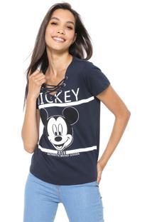 Blusa Cativa Disney Lace Up Mickey Azul-Marinho