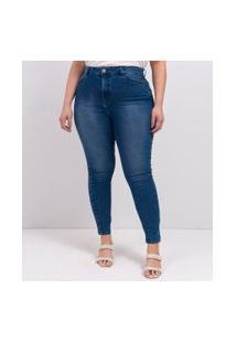 Calça Jeans Skinny Push Up Curve & Plus Size | Ashua Curve E Plus Size | Azul | 54