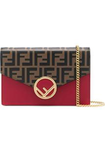 Fendi Carteira F Is Fendi Com Corrente - Marrom