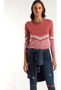 Blusa Rosa Chá Tricolor Curto Tricot Estampado Feminina (Estampado, G)