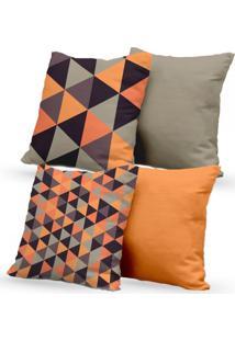 Kit 4 Capas De Almofadas Decorativas Own Triângulos Laranja E Lisas 45X45 - Somente Capa