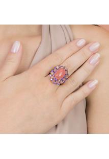 Anel Com Cristal Coral E Cravejado Com Zircônias Lilás Banhado Em Ouro Rose 18K