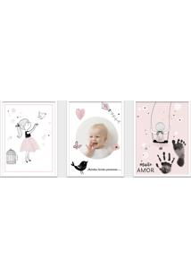 Quadro 30X60Cm Infantil Lembrança Bebê Menina Moldura Branca Com Vidro Decorativo
