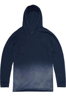 Camiseta Khelf Piquet Degradê Com Capuz Azul Marinho
