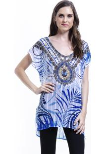 Blusa 101 Resort Wear Tunica Decote V Crepe Fendas Estampada Joias Grafismos