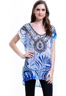 Blusa 101 Resort Wear Tunica Decote V Crepe Fendas Estampada Joias Grafismos - Amarelo/Azul/Branco - Feminino - Dafiti