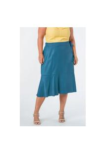 Saia Almaria Plus Size Munny Midi Camada Azul