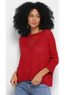 Blusa Cantão Tricô Triângulo Feminina - Feminino-Vermelho