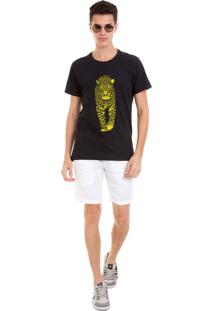 Camiseta Masculina Joss Onça Amarelo Preto