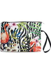 Necessaire Porta Biquíni Em Neoprene Tritengo - Zebra Flamingos Floral Zíper Preto - Feminino-Branco+Preto